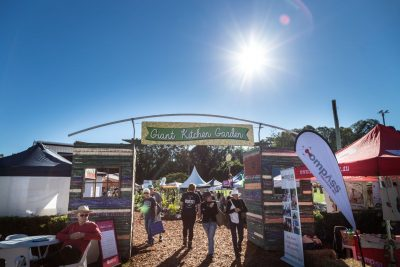 Visitors exiting the Giant Kitchen Garden at the 2019 Queensland Garden Expo